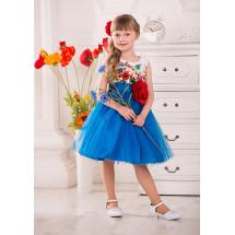 Платье нарядное синее с большим цветком Моника