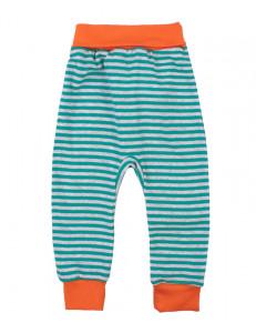 Штанишки в серо-бирюзовую полоску для малышей с оранжевым пояском