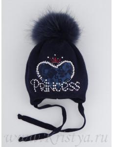 """Шапка зимняя синего цвета с синим помпоном """"Принцесса"""""""