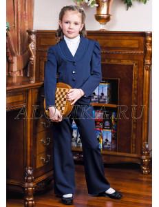 """Костюм для девочек синего цвета (жакет и брюки) """"Сударушка"""""""