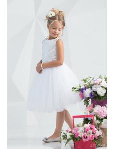 """Платье нарядное с пайетками белого цвета """"Элегант"""""""