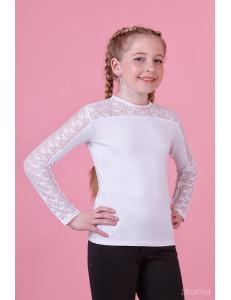 """Блузка белого цвета со вставкой из гипюра """"Зоренька"""""""