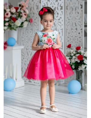 """Платье нарядное малинового цвета с голубым верхом """"Пэтси"""""""